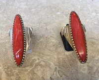 RINGS 8.5  NAVAJO HOPI QUALITY RARE ORANGE CORAL SILVER ELONGATED DESIGNER SIGNED C