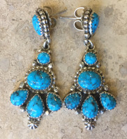 EARRINGS NAVAJO TURQUOISE CLUSTER CONTEMPORARY ROIE JAQUE