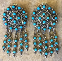 EARRINGS CONTEMPORARY ZUNI PETTIE POINT SLEEPING BEAUTY TURQUOISE DANGLE