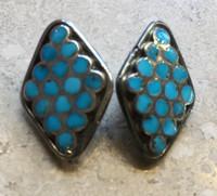 EARRINGS PAWN ZUNI DIAMOND SHAPED MULTI-STONE TURQUOISE INLAY CLIP DISHTA STYLE