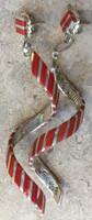 EARRINGS ZUNI MULTI-STONE CORAL INLAY TWIST STRIPED DESIGN