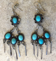 EARRINGS NAVAJO PAWN 4 STONE FREE FORM TURQUOISE DANGLE FRENCH WIRE