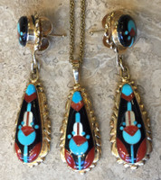 ZUNI 14KT GOLD EARRING PENDANT NECKLACE SET MULTI-STONE MULTI-COLOR INLAY RED CORAL WHITE MOTHER OF PEARL BLACK JET AND BLUE TURQUOISE VIRGINIA QUAM