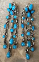 NAVAJO TEARDROP SHAPED SLEEPING BEAUTY TURQUOISE DANGLE DRIZZLE WATERFALL CABOCHON EARRINGS MARY MARIE LINCOLN 2