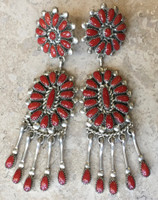 ZUNI THREE TIER OXBLOOD CORAL CLUSTER DANGLE EARRINGS LORRAINE WAATSA
