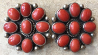 ZUNI OVAL ORANGE CORAL CLUSTER CLIP EARRINGS