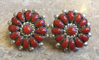 ZUNI CLUSTER RARE OXBLOOD CORAL EARRINGS LORRAINE WAATSA