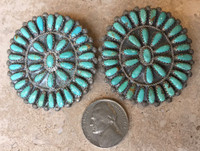 ZUNI LARGE CLUSTER TURQUOISE FABULOUS EARRINGS VH