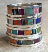 NAVAJO RINGS CONTEMPORARY MULTI-COLOR STONE INLAY LARGER RINGS 1