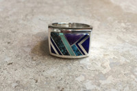 NAVAJO RINGS CONTEMPORARY MULTI-COLOR STONE INLAY SIZE 10.5 AMP TSF