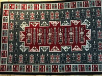 """LARGE YEI RUG WITH DOUBLE EAGLE BORDER 70"""" x 106"""" RED GREY BLACK WHITE CE7"""