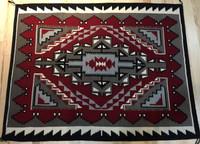 """1980's GANADO 50 1/2"""" X 66"""" NAVAJO RUG RED GREY BLACK CREAM CE5"""