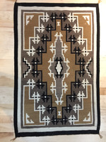 """TWO GREY HILLS RUG 38""""H x 58 1/2""""W SADDLE BROWN TAUPE BLACK & WHITE CE12"""
