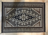 """1980'S TWO GREY HILLS RUG 29""""H x 41""""W TAUPE BROWN BLACK & WHITE CE15"""
