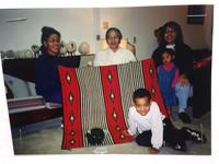 NAVAJO RED ORANGE BLACK & WHITE 1880S REVIVAL WEARING BLANKET 1990'S MARY LEE BEGAY