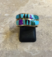 RINGS NAVAJO GOLD CONTEMPORARY MULTI-COLOR INLAY DOUBLE BAND DESIGN
