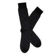 Sock Cafe Mens PK1 fine cotton knit Spots Oxford crew socks in black with ashley blue