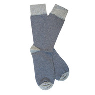 Sock Cafe Mens PK1 fine cotton knit Fine Stripe Oxford crew socks in grey marle with navy
