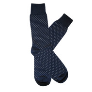 Sock Cafe Mens PK1 fine cotton knit Pin Dot Oxford crew socks in navy