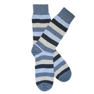 Sock Cafe Mens PK1 fine cotton knit Bold Stripe Oxford crew socks in blue marle