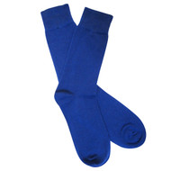 Sock Cafe Mens PK1 fine bamboo knit Solid Oxford crew socks in dazzling blue