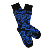 bf72053e07affc Sock Cafe Mens PK1 fine cotton knit Tropical Oxford crew socks in black  with dazzling blue