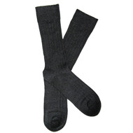 Sock Cafe Mens PK2 bamboo textured Broad Rib knit Derby crew socks in black and charcoal twist