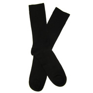 Sock Cafe Mens PK1 fine Merino wool Bold Rib knit Oxford crew socks in black