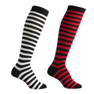 Sock Cafe Women's PK2 Fine Cotton Stripe Knee High