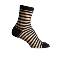 Sock Cafe Women's PK1 Sheer Stripe 1/4 Crew