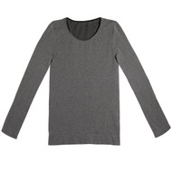 Sock Café Body PK1 Seamless Scoop Neck Long Sleeve Top - Grey Marle