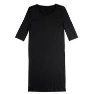 Sock Café Body PK1 Seamless 3/4 Sleeve Scoop Neck Dress - Black