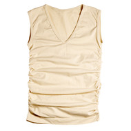 Sock Café Body PK1 Seamless Ruched Sleeveless V-Neck Top - Skin