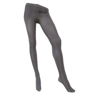 Sock Café Womens PK1 Block Rib 80 Denier Textured Tights - Grey Marle