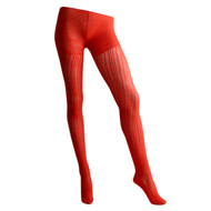 Sock Café Womens PK1 Lace Knit Cotton textured Tights - Burnt Orange