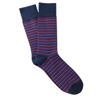 Sock Cafe Mens PK1 cotton contemporary Manhattan Stripe crew socks in navy and azure