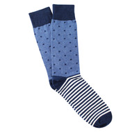 Sock Cafe Mens PK1 cotton contemporary Spot the Dot crew socks in denim and navy