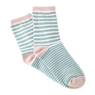 Sock Cafe Women's PK1 Lolly Pop Cotton Fashion Quarter Crew - Dust Pink with Mineral Blue
