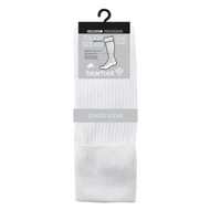 Bearfoot Children's PK3 Tough Knee High cotton school socks with turn top cuff, reinforced heel & toe and Silverplus - White