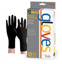 Product Club jetBlack Premium Reusable Latex Gloves 12ct M