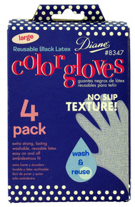 Diane Reusable Black Latex Color Gloves, Large