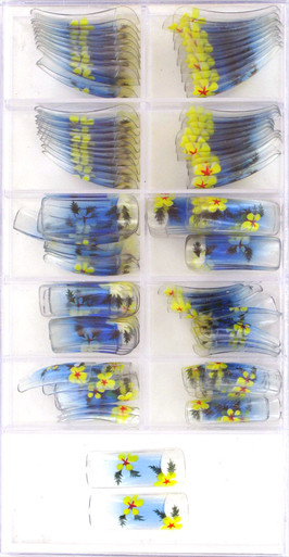 100 PCS Artificial Nails with yellow flowers with red centers on blue to clear