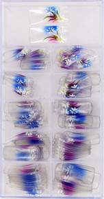 100 Piece Set of beautiful airbrush  designed clear nails with white flowers over a blue to purple fade
