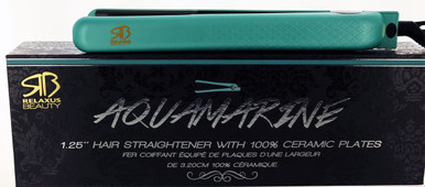 "Aquamarine 1.25"" Hair Straightener with 100% Ceramic Plates by Relaxus Beauty"