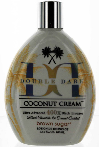 Tan Inc. Brown Sugar Double Dark Coconut Cream Tanning Lotion with Ultra Advanced 400X Black Bronzer. 13.5 fl oz.