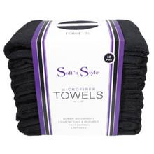 Soft n Style Black Microfiber Towels - 10 Pack