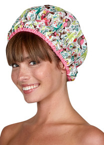 From the Fashionista Collection comes this Tropical Oasis Shower Cap by Betty Dain Creations