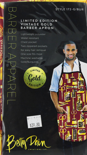 Limited Edition Vintage Gold and Red Barber Apron by Betty Dain Creations