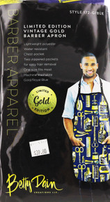 Limited Edition Vintage Gold and Blue Barber Apron by Betty Dain Creations