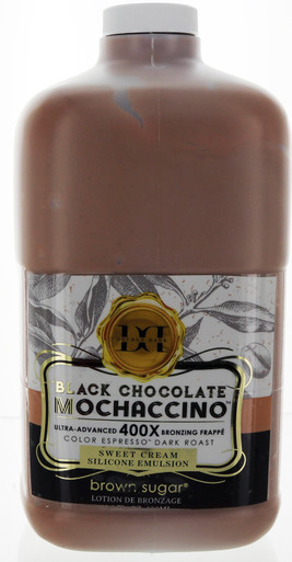 Double Dark Black Chocolate Mochaccino Tanning Lotion with  400X Bronzing Frappe